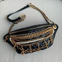 peş peşe el çantaları modası toptan satış-Kadınlar için üst markalar bel çantası göğüs çanta tasarımcısı deri çanta zincir omuz çantaları mektuplar püskül Inci çanta moda messenger çanta