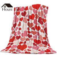impressão de coral vermelho venda por atacado-Menina do menino Dia dos Namorados amor do coração Red Blanket engraçado impresso macia do bebê coral fleece amor cobertores quentes Roupa de cama Sofá