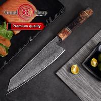 facas de cozinha damasco japonês venda por atacado-8.2 Polegada Damasco Faca De Cozinha Feitos À Mão Do Chef Faca VG10 Japonês Damasco Aço Kiritsuke Faca De Cozinha Caixa De Presente Grandsharp