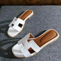 Wholesale open toe slippers heel resale online - New Women Designer Flat Shoes Open Toe Leather Sandals Shoes Ladies Luxury Fashion Wedding Slides Sandals Slippers
