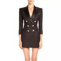 Wholesale womens tassels party dresses for sale – plus size Balmain New Womens Designer Casual Office Sexy Coat Clothing Plaid Party Work Business Dress Balmain Button