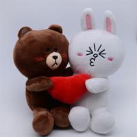 juguetes de muñeca femenina al por mayor-Oso pardo y conejito Peluches Muñecas Cony con corazón para regalo de boda Oso macho y conejo hembra para novios