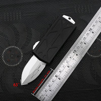 Wholesale New style quot Exocet Automatic Knife High End Quality Aluminum CNC Stonewash D2 blade Wallet knife Give a titanium alloy knife pendant