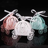 ingrosso baby carriage candy box-2019 50pcs Carrozza di caramella del taglio del laser Caramella di favore di Candy della scatola di caramella di colore della perla Caramella di compleanno Regalo di compleanno