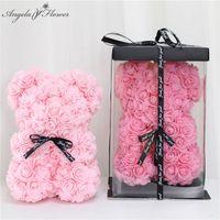 bären blumen großhandel-Großhandel 25 cm Teddy Rose Bär mit Box künstliche PE Blume Bär Rose Valentinstag für Freundin Frauen Frau Muttertag Geschenk
