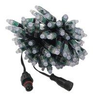 12v konektör teli toptan satış-18 AWG, Noel, dekorasyon veya kanal harfler Ray Wu Stil Connector ile Smart'ın 12v 12mm 100ct Bullet Düğümler Siyah Tel