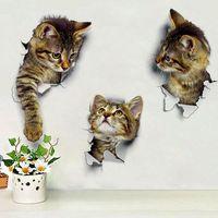 autocollants muraux de commutateur de chat achat en gros de-Autocollants muraux de chat autocollants muraux autocollants en vinyle pour la maison affiche murale bricolage 3D décor vif
