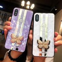 couverture dorée pour iphone achat en gros de-Bling Bling Shell Motif Strass Téléphone Cas Beatuiful Perle Couverture de Téléphone Papillon Diamant D'or Cas Line Pour iPhone 7 8 PLUS XR X MAX