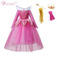 prinzessin aurora kostüm großhandel-Pettigirl Dornröschen Prinzessin Aurora Mädchen Kleid Party Cosplay Kostüm Für Halloween Geburtstag Phantasie Halloween Kostüm G-NBGD1009-2909H