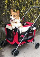 hilandero plegable al por mayor-KAWEIDA Cochecito plegable para mascotas Rolling Luggage Spinner Maleta para perros y gatos Ruedas de transporte Carrito plegable para mascotas