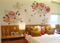 dormitorio de peonía al por mayor-70 * 50 cm flores de peonía reina estilo antiguo pegatinas de pared extraíbles calcomanías decoración del hogar para sala de estar dormitorio