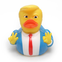 kauçuk ördek hediyeleri toptan satış-ABD Başkanı Rubber Duck Bebek Komik Oyuncak Su Toy Duş Ördek Yenilik Hediyelik yeni GGA1870 Yüzer Trump Banyo Ördek Oyuncak Duş Su