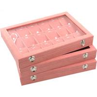 ingrosso braccialetti artigianali-Velluto rosa Organizzatore di gioielli Display Vassoio con coperchio in vetro Anello pendente ciondolo Orecchini Orecchini mestieri Custodie per il trasporto Grande 35 * 24 cm