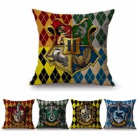 Wholesale blue decor pillows for sale - Group buy 18 quot Square Harry Potter Home Decor Cushion Cover Houses Hufflepuff Gryffindor Slytherin Ravenclaw Cotton Linen Pillow Cases
