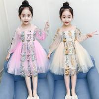 kız için işlemeli tül elbisesi toptan satış-Büyük Kızlar Elbiseler Çocuklar Dantel Çiçek İşlemeli Parti Elbise Çocuk Puff Uzun Kollu Dantel Tül Tutu Elbise Çocuk Tasarımcı Prenses Giydirme
