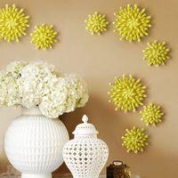 sarı çiçekler duvar sanatı toptan satış-Yaratıcı 3D Stereo Seramik Çiçek Yellowe Krizantem Duvar Dekorasyon Avrupa Salon Yatak Odası Lüks Duvar Duvar El Sanatları Sanat