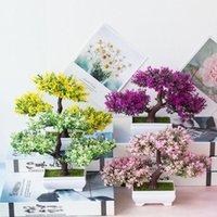 Wholesale artificial flowers bonsai for sale - Group buy Hot Pc Artificial Flower Pine Tree Plant Photograph Prop Wedding Home Bonsai Decor