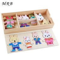 Wholesale montessori wooden puzzle resale online - Wooden Toy Rabbit Change Clothes Puzzles Montessori Educational Dress Changing Jigsaw Puzzle toys for Children gift oyuncak SH190911