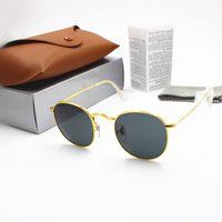 negro redondo marrón al por mayor-Alta calidad de moda las gafas de sol para mujer para hombre de la Ronda 50mm Diseñador YXVAXL de marca gafas de sol del metal del oro Negro oscuro lentes de cristal de Mejor Caso Brown