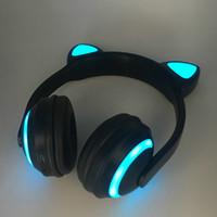 iphone auriculares de colores al por mayor-Auriculares estéreo Bluetooth con oreja de gato Parpadeante Auriculares con oreja de gato brillantes Auriculares para juegos Auriculares 7 colores con luz LED