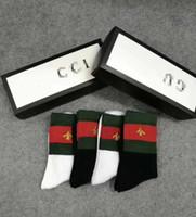 chaussettes en coton achat en gros de-4 paires / Set chaussettes de créateur de marque Chaussons Nouvelle mode coton sport chaussettes hommes femmes unisexe luxe designer chaussette Bas taille libre