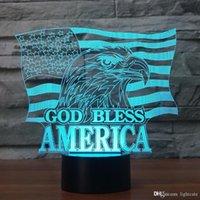 bandera usb al por mayor-Bandera americana de la lámpara de tabla llevada de la novedad del bebé de noche cabritos de la decoración del regalo del USB 3D God Bless Águila Nocturna Light Touch Button accesorios ligeros
