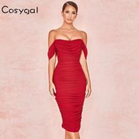COSYGAL 2019 Strapless midi Bodycon Dress Knee Length Elegant Party Dresses Women Double Layers Red Dresses Vestidos De Festa Y200101