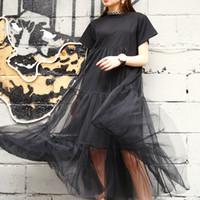 yeni moda net elbiseler toptan satış-Yaz Yeni Moda 2019 Büyük Boy Siyah Dikiş Net İplik Yuvarlak Yaka Kısa Kollu Boyutu Gevşek Elbise Kadın 3361.5xl giysi tasarımcısı