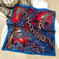 Wholesale red silk head scarf for sale - Group buy Square Silk Scarf Women Head Neck Scarfs France Small Scarves Animal Print cm cm