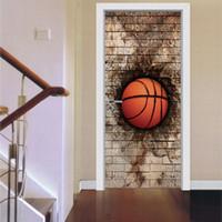 pegatinas de baloncesto al por mayor-Creativo 2 unids / set 3D Brick Wall Basketball Door Art Mural Sticker autoadhesivo PVC Wall Stickers Home Decor impermeable cartel