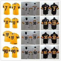 ben jerseys achat en gros de-Steelers Hommes Pittsburgh Femmes 19 JuJu Smith-Schuster 90 T.J. Watt 7 Ben Roethlisberger 30 Maillots de foot sur mesure James Conner Jaune