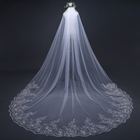 Wholesale 3m soft veil resale online - Best selling and cheapest cathedral m wide bridal veil High quality soft gauze with comb sequined lace appliqué trailing float Free shippin