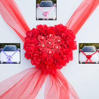 Wholesale wedding car ribbons for sale - Group buy 2019 Flower Heart Wedding Car Decorations Kit Set Artificial Silk Flower Ribbon Bows DIY Wedding Supplies