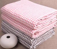 karierter kaffee großhandel-Cotton Plaid Blanket Solide weiche Decken für Betten Sommer Baumwolldecke für Sofa Pink Coffee Color
