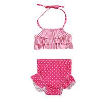 ingrosso puntino rosso del vestito del bambino-Neonate Costumi da bagno Coprispalle a righe Red Dot Top Pantaloni a righe Costume da bagno Vogue Bebe Ragazze costumi da bagno