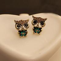 accesorios del buho de las muchachas al por mayor-Cute Crystal Owl Girls Stud Pendientes Para Las Mujeres Vintage Vintage Ear Pendientes Decoración Accesorios Envío de La Gota al por mayor