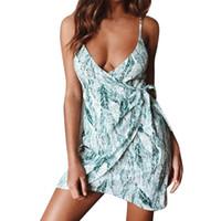 vestidos casuais femininos venda por atacado-Primavera verão das mulheres dress casual impresso zipper sling feminino dress vestidos vintage feminino vestidos