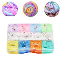 Wholesale packing toy resale online - New Pattern Crystal Mud Colors Blue Patchwork Slime Sets Accessory Box Packed Plasticene Cotton Puree Granular Kneading Toys xj N1