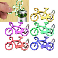 Wholesale bicycle keychain bottle opener resale online - Bike Bottle Opener Bicycle Keychain Keyring Bottle Wine Beer Openers Kitchen Tools Random Color