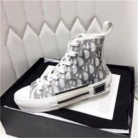 Wholesale red high top sneakers resale online - New B23 HIGH TOP SNEAKERS OBLIQUE Mens Designer Casual Shoes Transparent Letters Men Women High help Canvas shoes With box SIZE US5