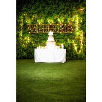 Jardin De Mariage Photographie Fond Vinyle Imprimé Plantes Mur Gâteau Table  Nuit Partie Fête Thème Photo Booth Toile de Fond Vert Plancher