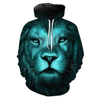 Wholesale hoodies for head resale online - NEW ARRIVAL Lion Head Pattern D Printing Stereo Paste Bag Casual Hoodie for Young Men Designer Hoodies Fashion Hipster Hoodies