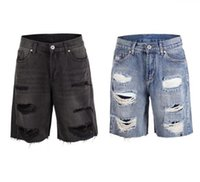 kısa yıkandı toptan satış-Kanye Yıkanmış Erkek Kısa Kot Yaz Diz Boyu Tasarımcı Delik Şerit Jean Pantolon Erkek Gevşek Kot Şort
