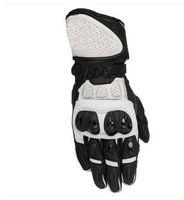 черные кожаные перчатки велосипеда оптовых-SP Plus R Перчатки из натуральной кожи Спортивные велосипедные уличные трековые мотоциклетные перчатки Черный Белый