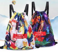 Wholesale waterproof swim bag for women resale online - Cartoon camo drawstring backpack outdoor sports travel storage bag swimming beach packs waterproof shoulder bags for women girls juniors