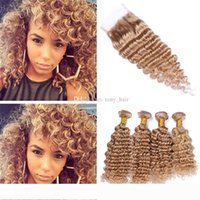 Wholesale honey brown hair weave for sale - Group buy Virgin Peruvian Honey Blonde Curly Hair Weave Bundles with Closure Deep Wave Light Brown Human Hair and Lace Closure
