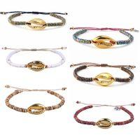bracelete delicado ouro venda por atacado-KELITCH Shell Charme pulseiras Handmade ouro Cowrie colorida frisada envoltório pulseiras ajustável delicado Jóias Mulheres Bangle