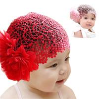 ingrosso capelli moderni-All'ingrosso-Moderno Per 6 mesi -2 anni Bambino ragazza infantile pizzo fiore fascia elastico Hairband cappello cappello fascia per capelli vestiti rosso, rosa ott05