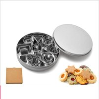 Wholesale diy mould set for sale - Group buy Cookie moulds Stainless steel biscuit mould DIY cookie molds Pattern cake printing set pieces Geometric pattern baking utensils YYSY263