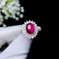 einfacher weißer goldring großhandel-Einfacher Schnitt des großen Rubin-Korund-Ringes 925 Sterling Silber mit 18 Karat Weißgold offene Größe Ring verstellbare Ringe für Frauen